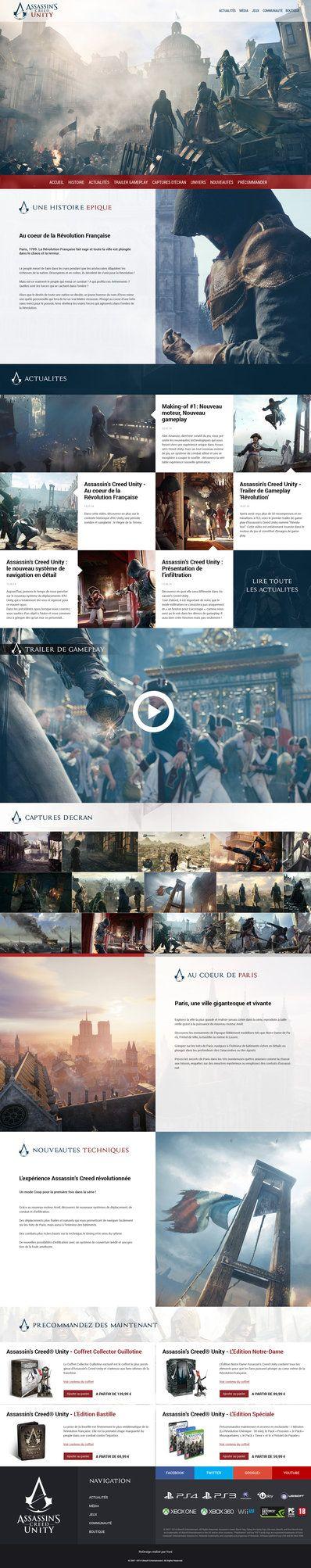 http://yuni-style.deviantart.com/art/Assassin-s-Creed-Unity-Website-ReDesign-471069544 #webdesign #website #layout #inspiration #game #web