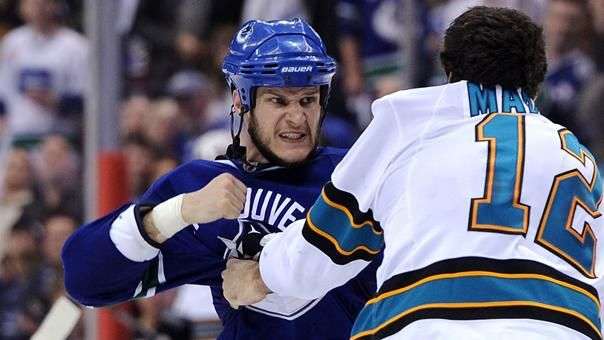 5/19/2011 The Vancouver Canucks' Kevin Bieksa prepares to throw a punch at Patrick Marleau of the San Jose Sharks in the second period in Vancouver. The Canucks won 7-3 to take a 2-0 series lead.: Hockey Hunks, Hockey Lovers, Boomboom Bieksa, Kevin Bieksa, Hockey Real, Favorite Bieksa, Bieksa Photo, Vancouver Canucks, Canucks Editing