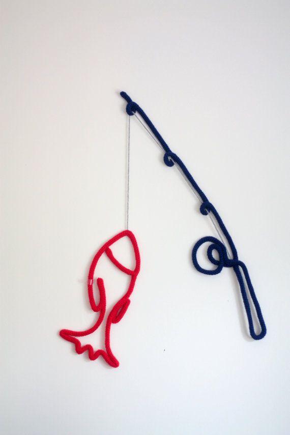 Canne à pêche et poisson au tricotin - Décoration murale