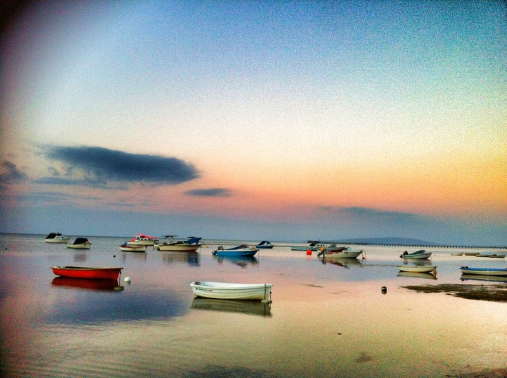 Sunset over boats, Rosebud Beach, Mornington Peninsula, Victoria,AUSTRALIA