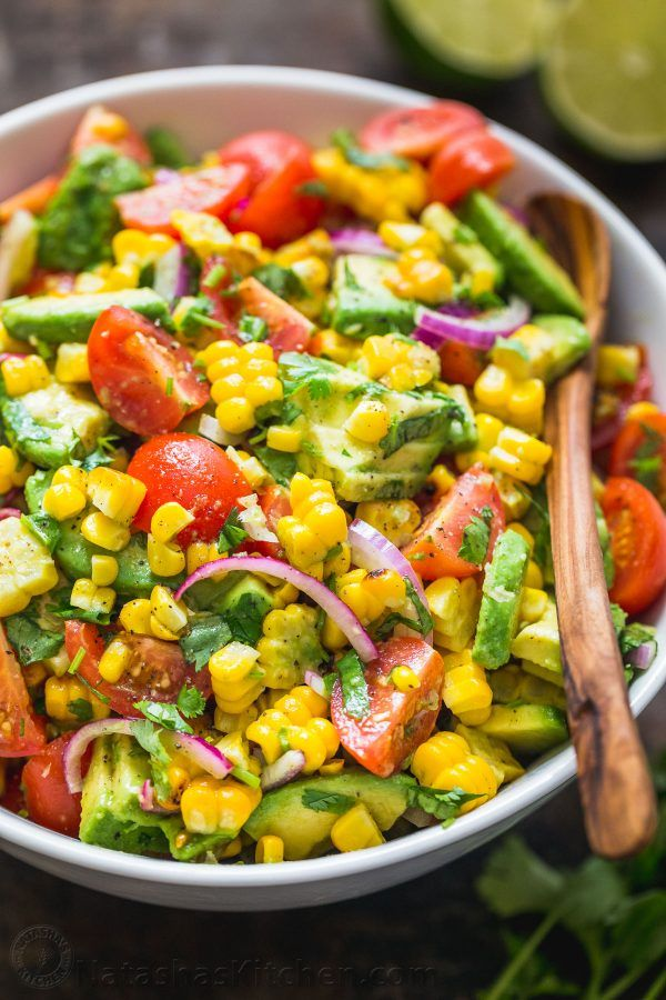 This Avocado Corn Salad is a bright and feel good salad that's loaded with gri…