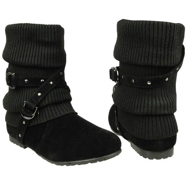 Womens Ankle Boots Slouch Knitted and Suede Cross Strap Buckles black... (1.870 RUB) ❤ liked on Polyvore featuring shoes, boots, ankle booties, slouch ankle boots, black slouchy boots, short boots, black buckle booties and slouchy ankle boots