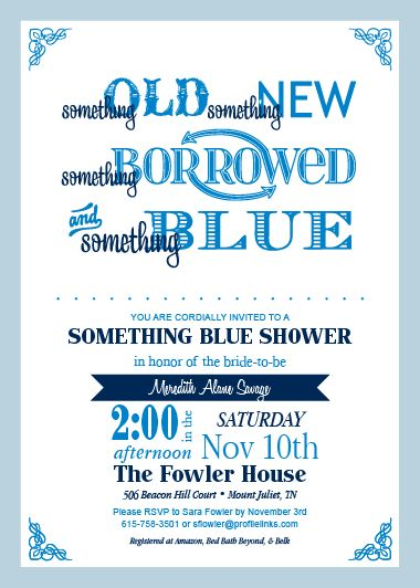 """Something Blue"" Bridal Shower Invites at Envelopes.com #Invitations #BridalShower #DIY"