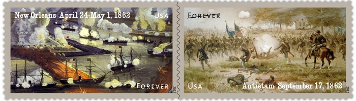 One stamp depicts the Battle of New Orleans, which was marked on April 24, 1862, by the heroics of Flag Officer David G. Farragut, soon to become the U.S. Navy's first full admiral.    The other stamp depicts the Battle of Antietam, Confederate General Robert E. Lee's invasion of the North that resulted in the bloodiest day of the war on September 17, 1862.