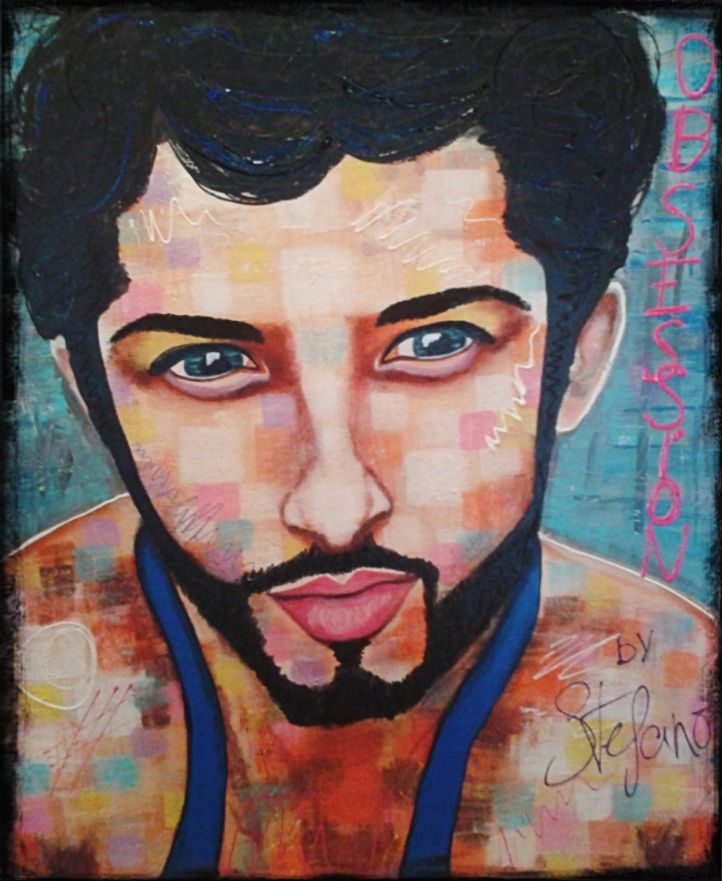 """Obsession by STEFANO """"the guys on instagram""""2015 acrylic on canvas(50x60cm) acrylic,painting,portrait,man,fashion art,art,faces"""