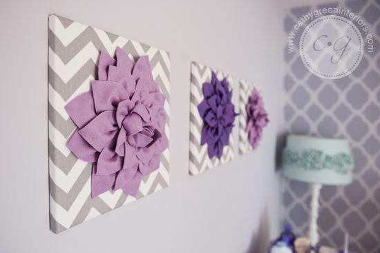 purple & gray nursery artwork