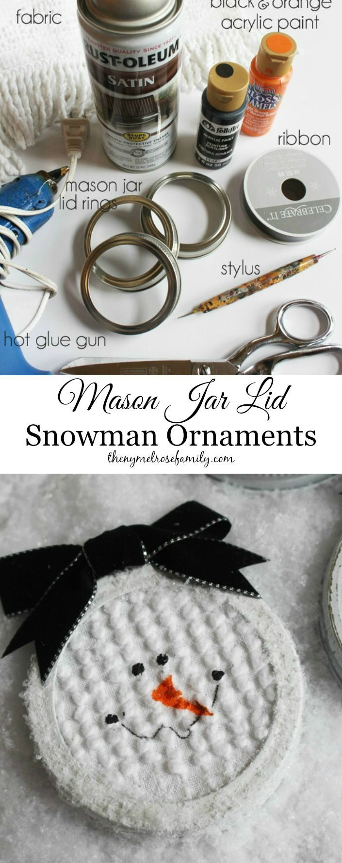 Mason Jar Lid Snowman Ornaments are cute and easy to make.