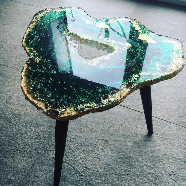 Mesmerizing Resin Tables Designed to Look Like Giant Glistening Geode Slices
