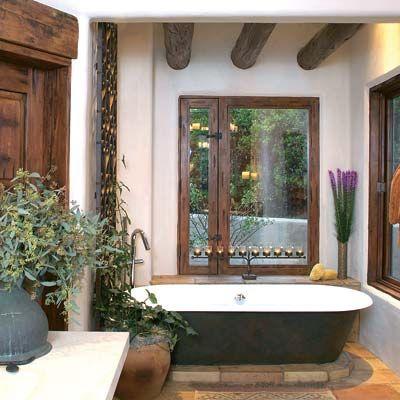 bathtub. wanted.: Bathroom Design, Rustic Flowers, Rustic Bathroom, Bathroom Remodel, Bathroom Ideas, Traditional Bathroom, Santa Fe, Master Bathroom, Bath Design