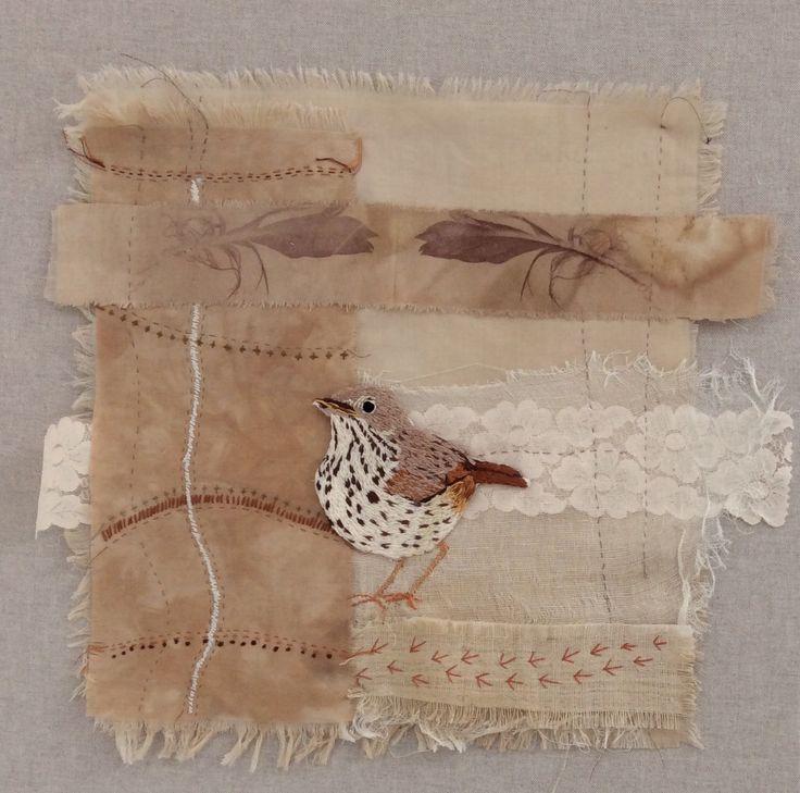 Song Thrush from Irish garden birds series. Hand embroidery. www.violetshirran.com