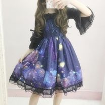 Nighttime Lolita-Style Dress with Blouse