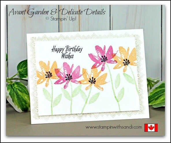 Avant Garden and Delicate Details two tone card by Sandi at stampinwithsandi.com