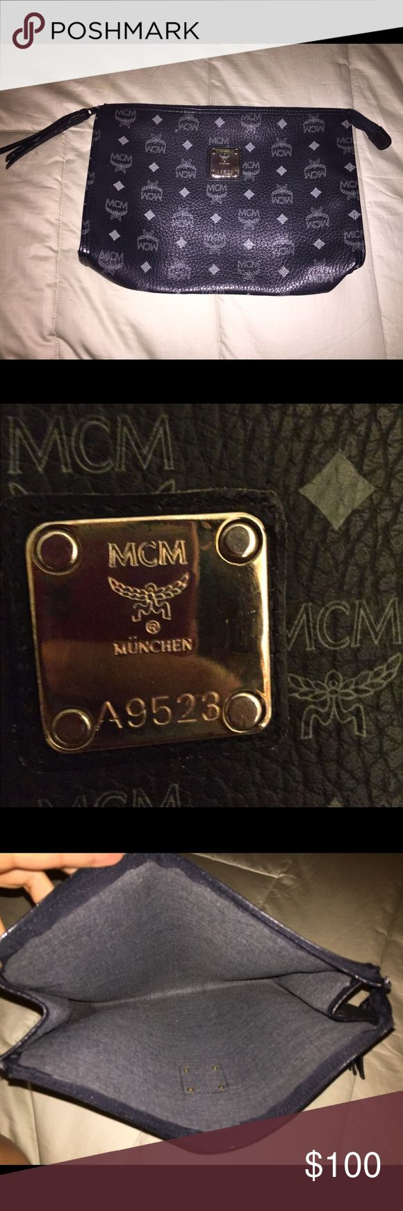 MCM clutch Not authentic!!! I repeat... Not authentic!! I bought this a while ago, here on poshmark and trusted the seller when she promised it was a vintage authentic piece. She has since removed her closet 😔 My leather repair man has recently informed me that this is not authentic so i am just trying to make some of my money back.  Clean, excellent condition. Leather. Has a tassle on the zipper pull. Can be used as a clutch or cosmetic pouch. It is 11.5 inches wide and 8.5 inches tall…