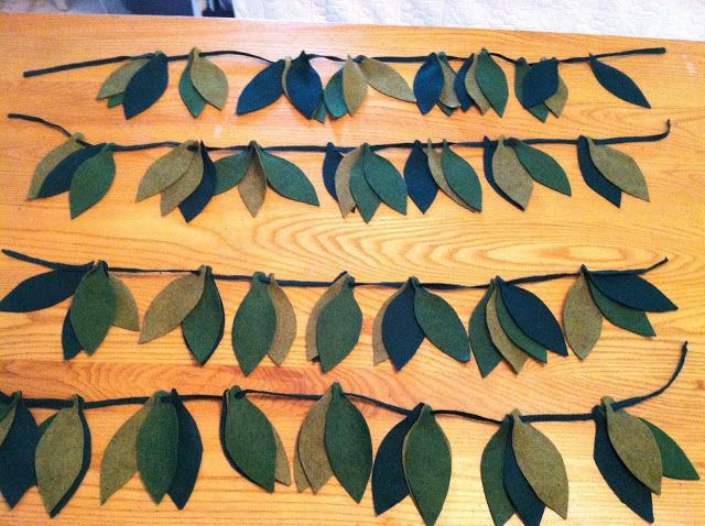 DYI felt leaves for jungle kids bedroom.