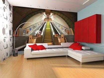 Supersej fotostat med rulletrappe op fra undergrundsbanen i London.