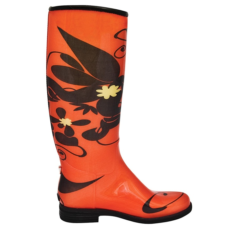 Fantastic Stylish Wedge And Print Design Rain Boots For Women BLACK In Boots   DressLily.com