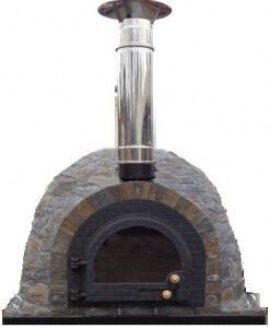 natuurstenen oven met glazen deur en schoorsteenafvoer