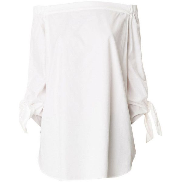 Tibi White Off-The-Shoulder Tunic (20.105 RUB) ❤ liked on Polyvore featuring tops, tunics, shirts, dresses, white, white tunic, cotton tunic, white off shoulder shirt, off the shoulder tops and white cotton shirt