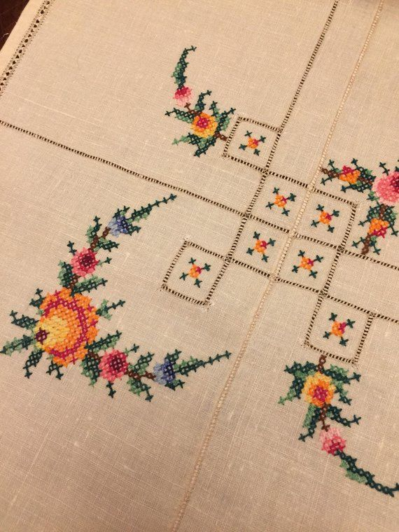 White Vintage Tablecloth or Topper with New Cross Stitch