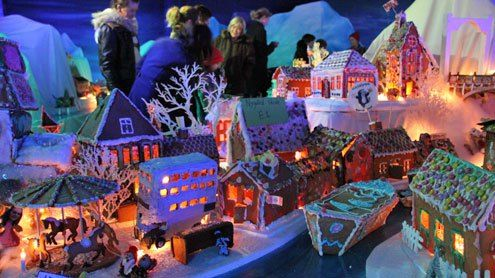 Pepperkakebyen i Bergen, the annually constructed gingerbread town in Bergen, Norway, constructed every Christmas.  (© visitBergen.no)