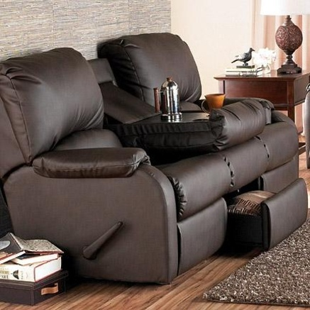 El Ran® \u0027Pasadena\u0027 Bonded-leather Reclining Sofa with Built-in Table and Storage Drawer | Desireable Furniture | Pinterest | Leather reclining sofa ... & El Ran® \u0027Pasadena\u0027 Bonded-leather Reclining Sofa with Built-in ... islam-shia.org