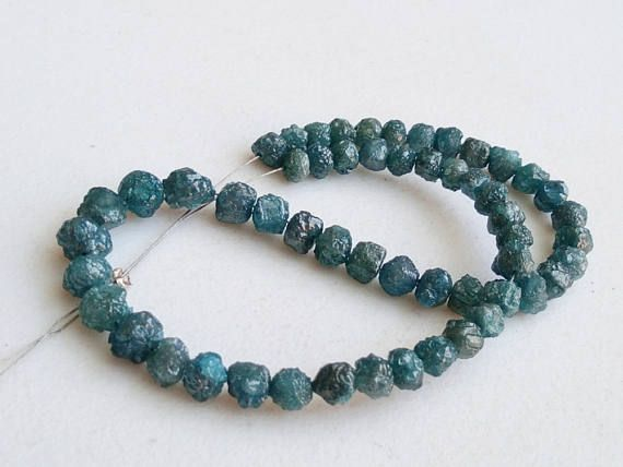 8 Inch Perfect Natural Round Blue Raw Diamond Beads Large