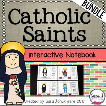 Now both versions of the popular Catholic Saints Interactive Notebook are bundled into one money saving bundle. Learn about some Catholic Saints in a cute interactive format! These cards can be used for interactive notebooks, flip books or flashcards.