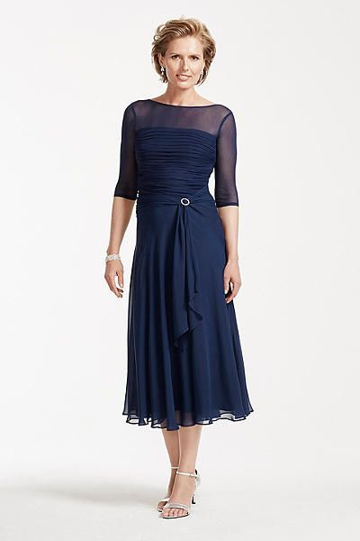 Tea Length Chiffon Dress with Pleated Bodice AWYEC23