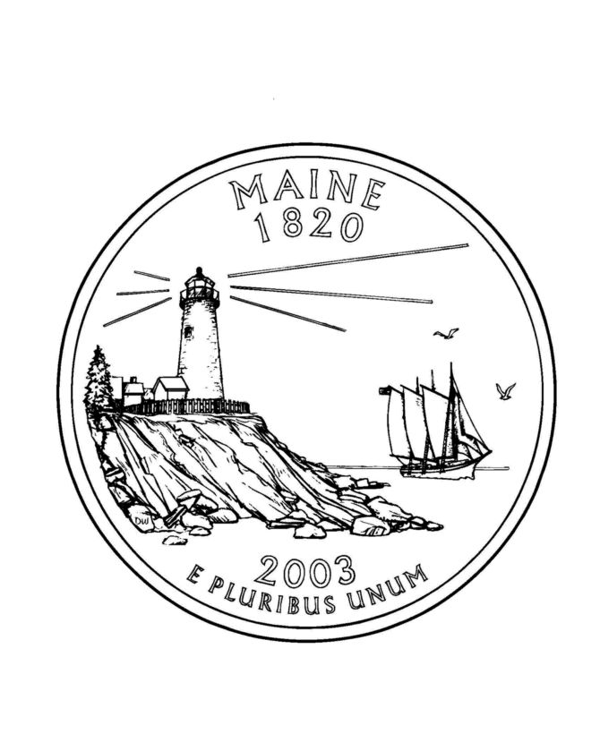 Maine State Quarter Coloring Page