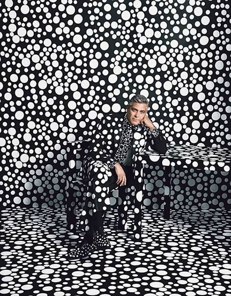 "W magazine George Clooney by Yayoi Kusama on the cover of W magazine's ""Art Issue"" 
