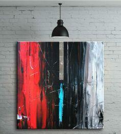 Obraz ręcznie malowany na płótnie galeryjnym ABSTRAKCJA Z CZERWIENIĄ 80x80cm