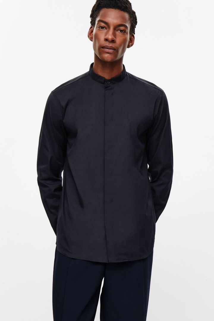 COS image 2 of Tailored grandad shirt in Navy