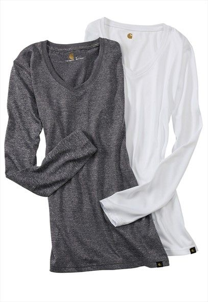 Carhartt v-neck long sleeve tee. they do go great with scrubs