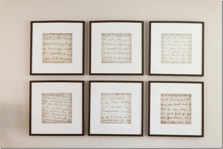 Old letters, enlarged, and framed in IKEA frames