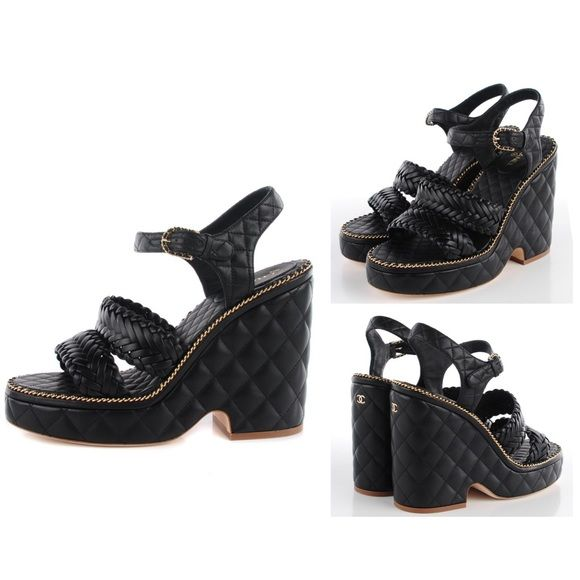 170fa1b85a4141 Chanel Quilted Chain Wedge Sandals Authentic Chanel Black Calfskin Quilted  Gold Chain Wedge Sandals - size