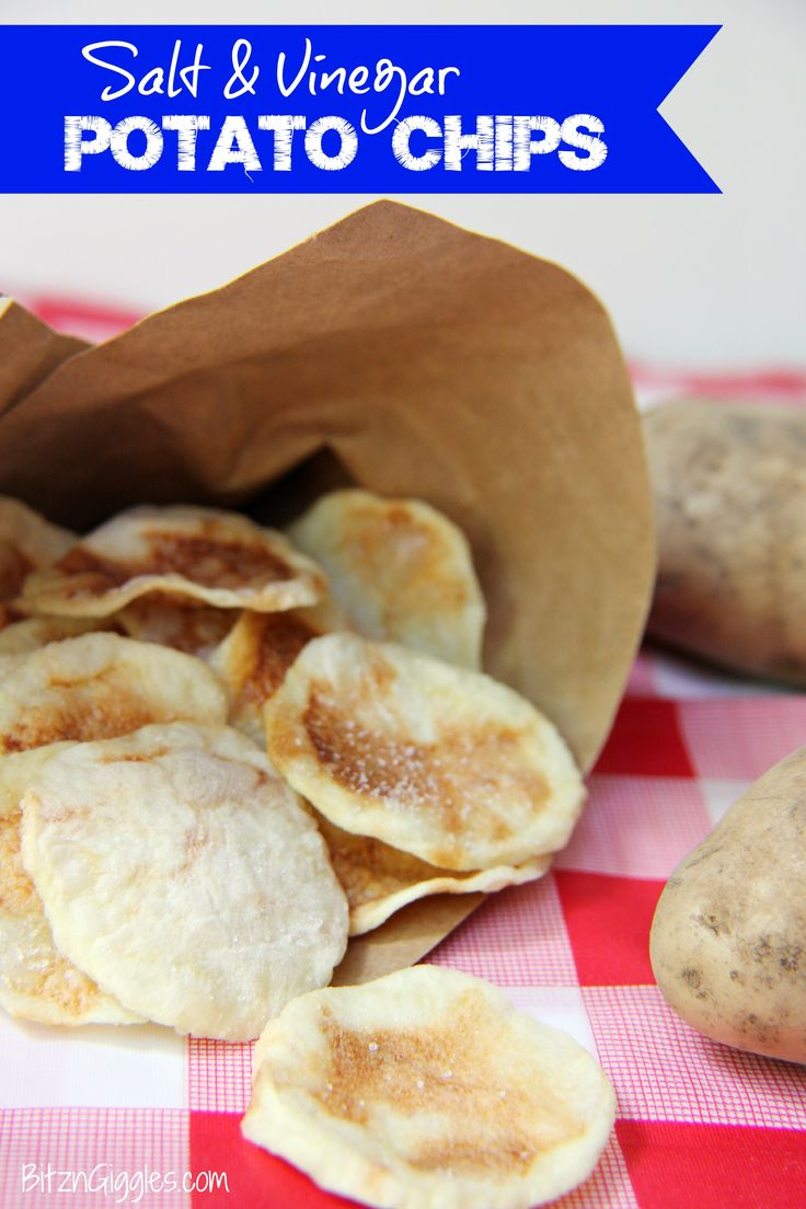 Salt and Vinegar Potato Chips - Perfect for a picnic, party or just a hot and lazy summer day! Made with only 3 ingredients and baked in the microwave.