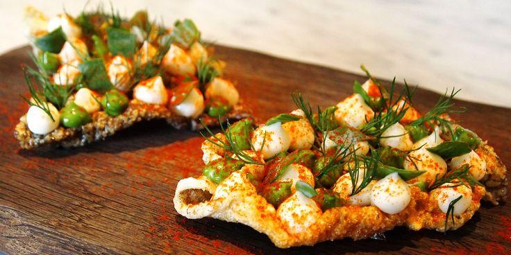 Crispy fish skin, salt cod brandade, oyster emulsion