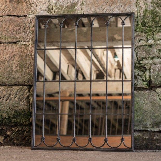 large scalloped window pane mirror