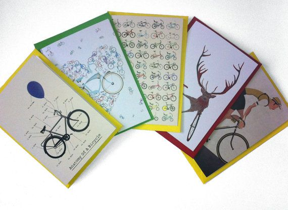 Spread the bicycle love...  Set of 10 Bicycle Themed Greetings Cards by wyatt9dotcom on Etsy, £15.00