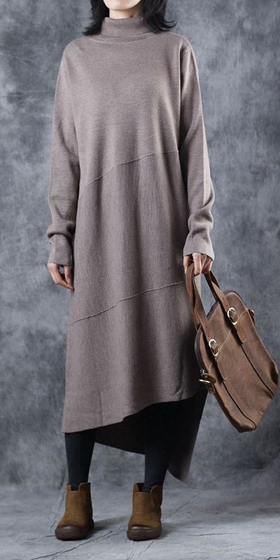 c30e4a1fdbd Casual High Neck Pure Color Sweater Dresses For Women W5608