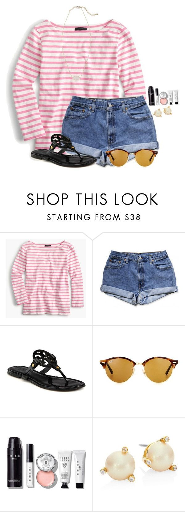 """""""Exact OOTD for errands"""" by flroasburn ❤ liked on Polyvore featuring J.Crew, Tory Burch, Ray-Ban, Bobbi Brown Cosmetics, Kate Spade and Kendra Scott"""