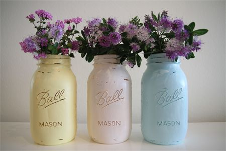 Mason Jars hand painted in a beachy shabby chic effect great for weddings | Manlybeachmasonjarco | madeit.com.au