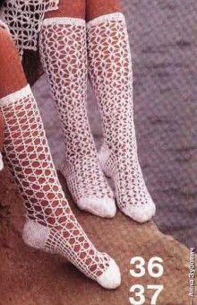selection of crocheted fishnet knee-highs and socks.