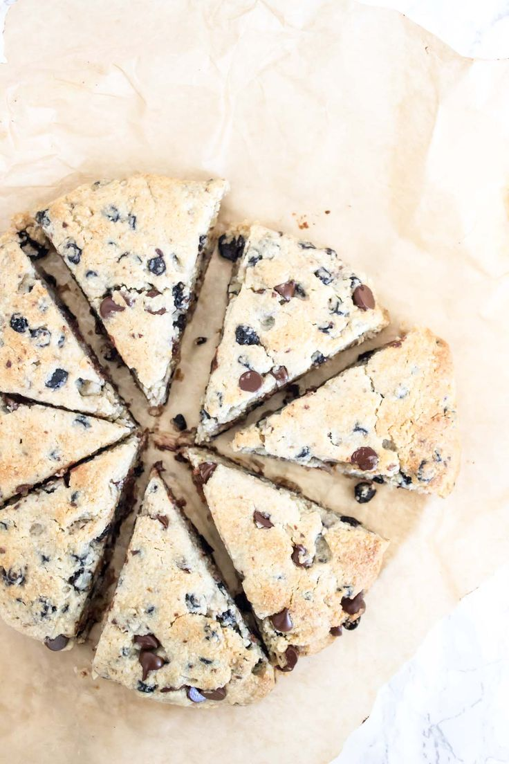 Paleo and Vegan Blueberry Chocolate Scones | EASY, delicious, and the perfect make ahead breakfast.