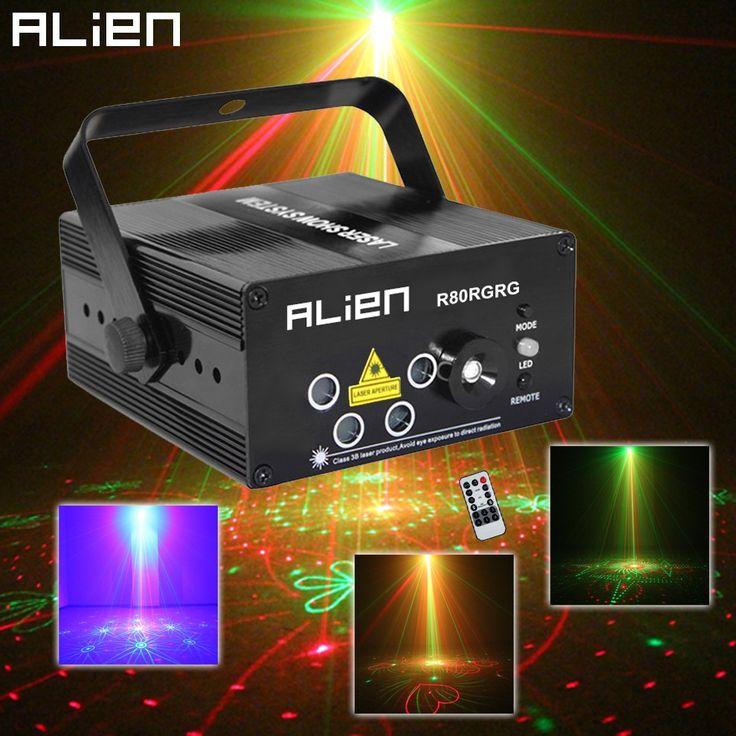 Alien LED Laser Stage Lighting 5 Lens 80 Patterns RG Mini Laser Projector 3W Blue Light Effect Show For DJ Disco Party Lights