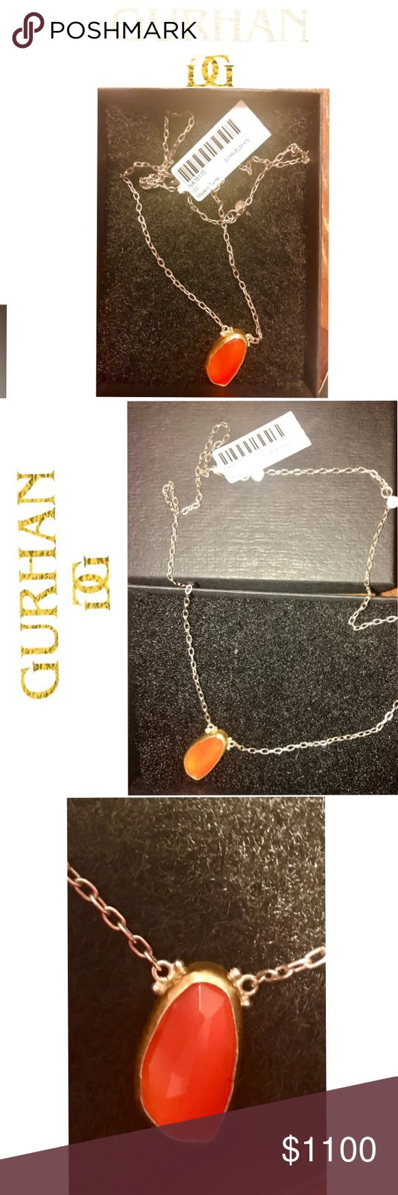 Gurhan Orange Citrine One of a Kind 24k Necklace This one of a kind necklace from Designer Gurhan is custom made and one of a kind. The gem stone is orange Citrine, a beautiful color for summer. It is surrounded in 25k hammered gold, the back is sterling silver and the chain is 18k white gold. The Retail is $3200 and was purchased at SAKS Fifth Ave. It is a very special necklace from a very famous jewelry designer. He designs to many celebrities for red carpet events. The chain is an 18inch…