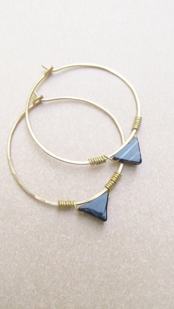 Large Hoop Earrings Brass Large Hoops Hammered Metalwork Jewelry Handmade DanielleRoseBean Big Earrings Hoop Earrings