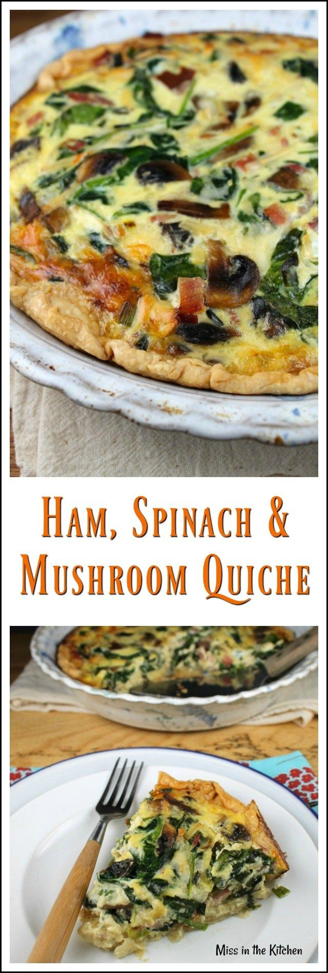 Ham Spinach & Mushroom Quiche Recipe perfect for brunch ~ MissintheKitchen.com #ad #Brunch