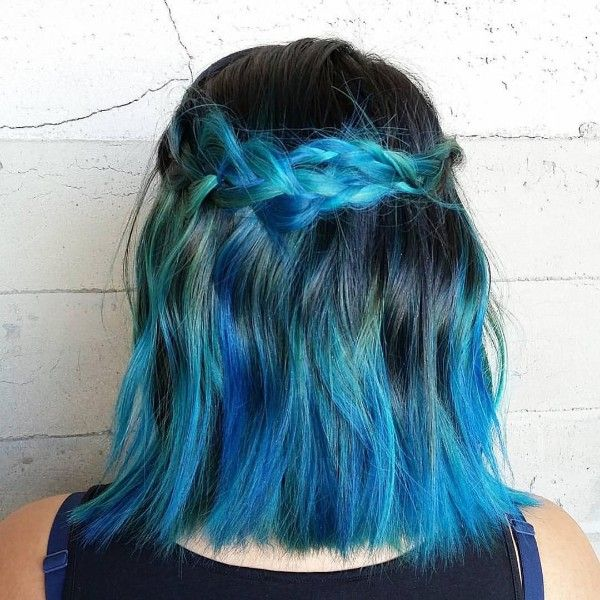 electric blue and black hair