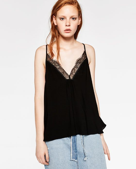 Image 4 of CONTRASTING LACE TOP WITH BACK BOW from Zara